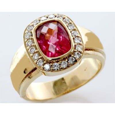 Genuine 2.0 ctw Ruby Diamond Ring 14k W/Y Gold