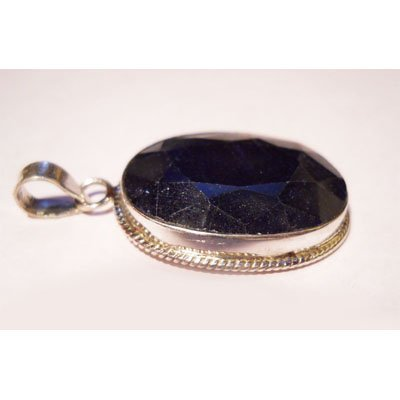 Natural 55.45 ctw Sapphire Oval Pendant .925 Sterling