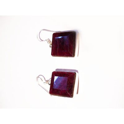 Natural 69.05 ctw Ruby Square Earrings .925 Sterling