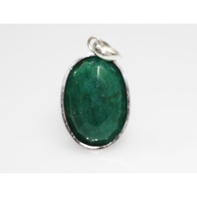 NATURAL 9.68 GRAMS EMERALD OVAL PENDANT .925 STERLING S