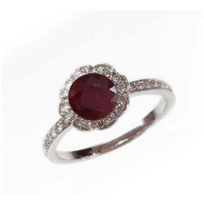 Natural 1.77 ct 3.38g Ruby & Diamond 14k WG Ring