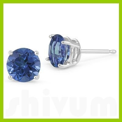 Genuine 3.20 ctw  Sapphire Round Stud Earrings 14kt
