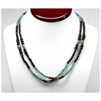 Natural 192.02 ctw Emerald, Ruby Sapphire Bead Necklace