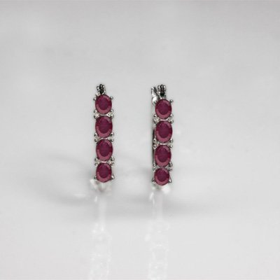 NATURAL 4.00 CTW RUBY EARRINGS .925 STERLING SILVER