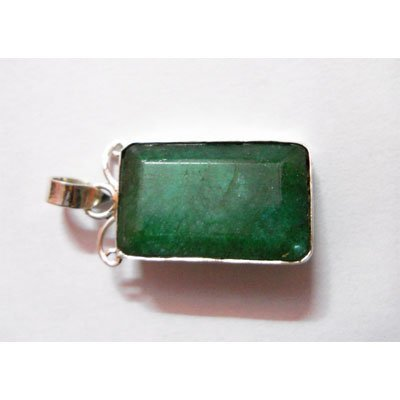 Natural 35.10 ctw Emerald Pendant .925 Sterling