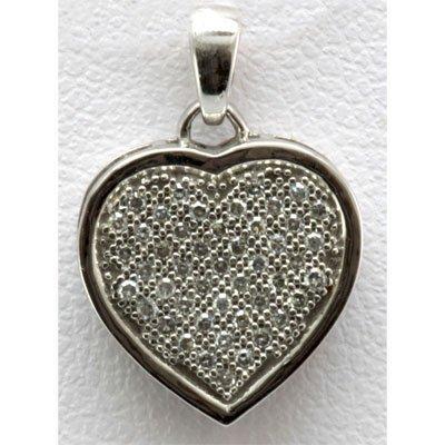 Genuine 0.16 ctw Diamond Pave Heart Pendant 10k