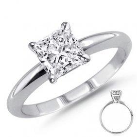 0.40 Ct 14K White Gold Princess Cut Ring G-H SI2