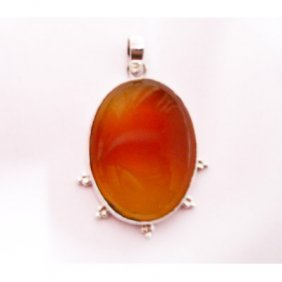 Natural 56.75 Ctw Susunight Oval Pendant .925 Sterling