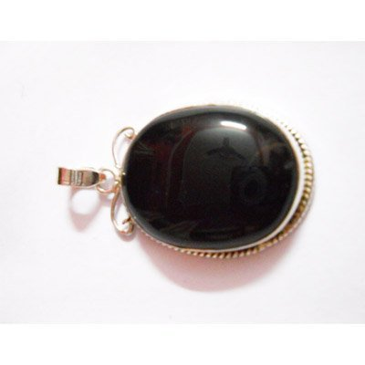 Natural 53.65 ctw Black Onex Pendant .925 Sterling