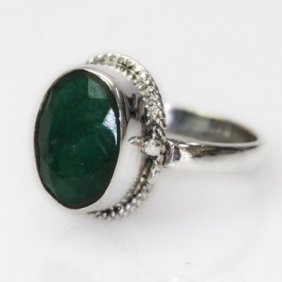Natural 23.09 Ct Emerald Oval Ring .925 Sterling Silver