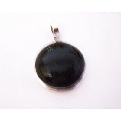 Natural 54.85 ctw Black Onex Pendant .925 Sterling