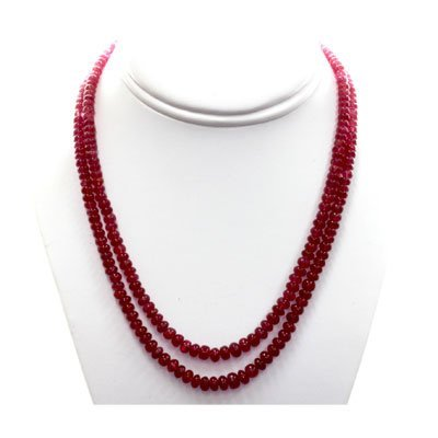 Natural Ruby Round  Beads 348.15 CTS. Necklace w/brass