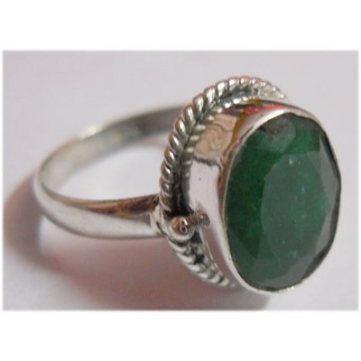 Natural 20.20 ctw Emerald Ring .925 Sterling Silver