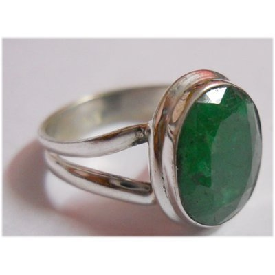 Natural 17.45 ctw Emerald Oval Ring .925 Sterling