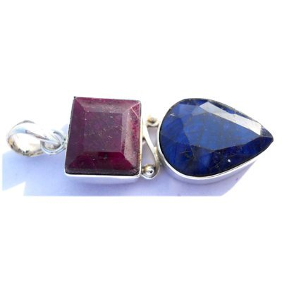 Natural 59.75 ctw Ruby Sapphire .925 Sterling Pendant