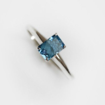 Natural 3.45 ctw Blue Topaz Emerald .925 Sterling Ring