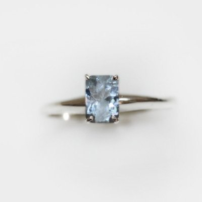 Natural 1.50 ctw Aquamarine Emerald .925 Sterling Ring