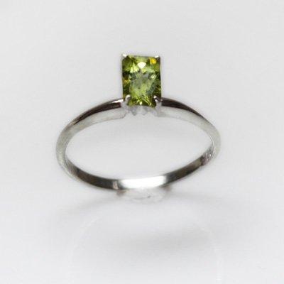 Natural 3.00 ctw Peridot Emerald Cut .925 Sterling Ring