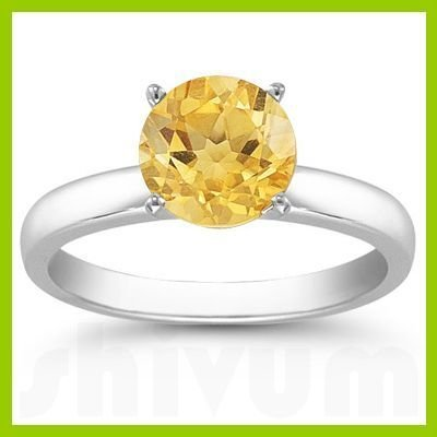 Genuine 2.0 ctw Citrine Solitaire Ring 14kt Gold-White