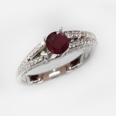 Natural 1.89 ct 4.41g Ruby & Diamond 14k WG Ring