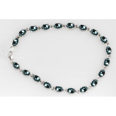 NATURAL 8.00 CTW AQUAMARINE OVAL BRACELET .925 STERLING
