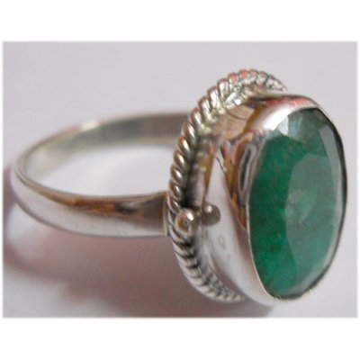 Natural 21.45 ct Emerald Oval Ring .925 Sterling Silver