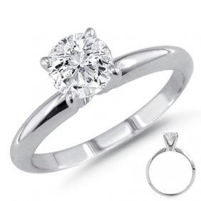 0.25 Ct 14K White Gold Solitare Round Ring G-H VS