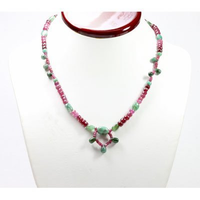 Natural 124.03 ctw Ruby & Emerald Bead Necklace