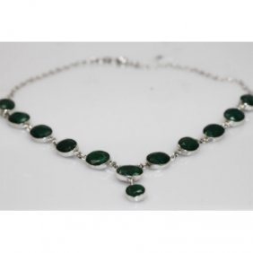 NATURAL 22.79 GRAMS EMERALD OVAL NECKLACE .925 STERLING
