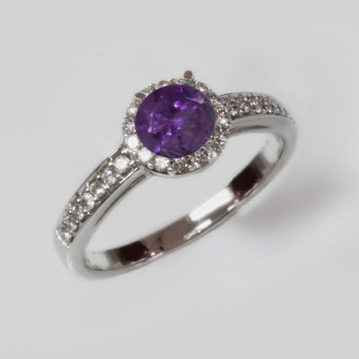 Natural 1.35 ct 2.97g Amethyst & Diamond 14k WG Ring