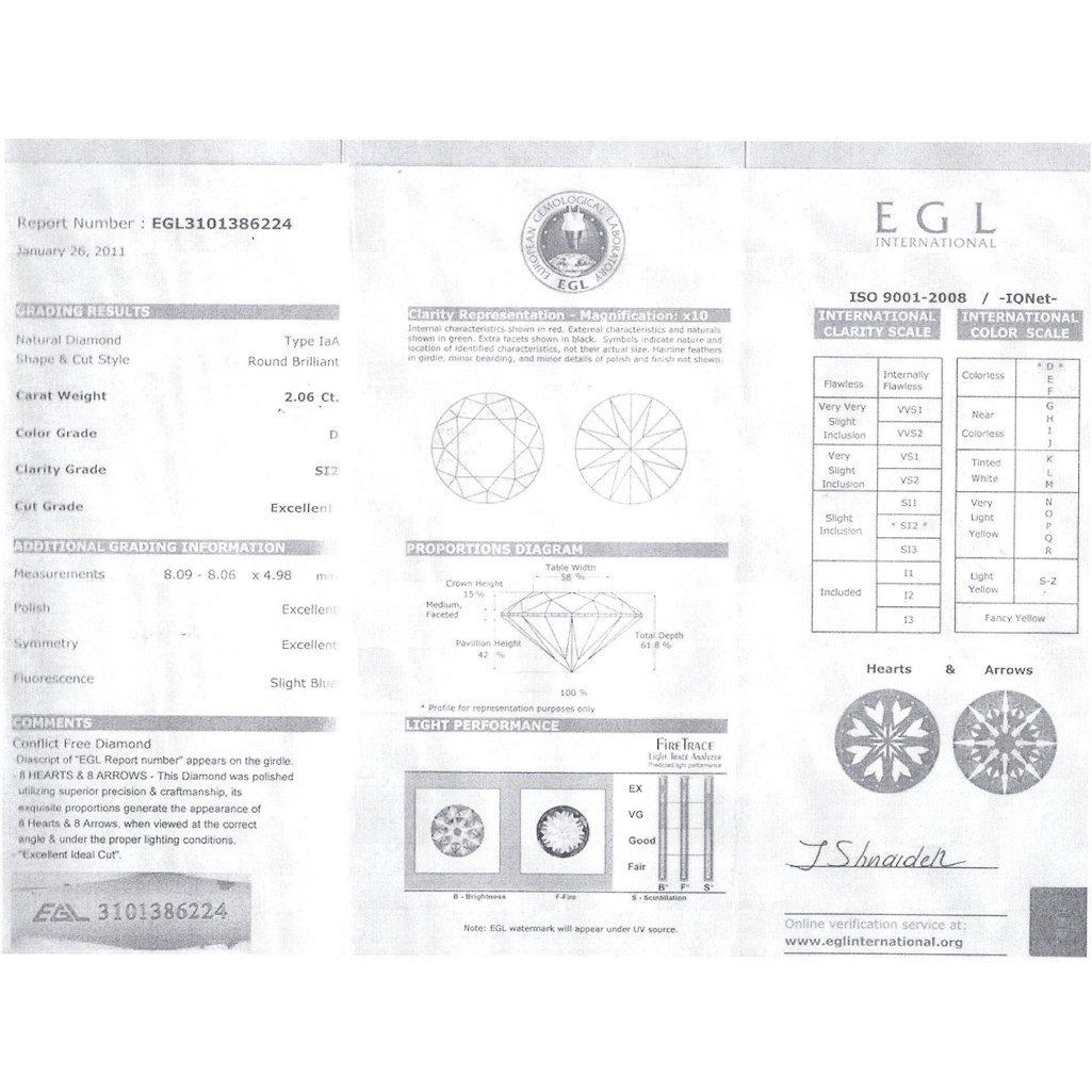 Diamond EGL Cert. ID: 3101386224 Round 2.06 ctw D, SI2 - 2