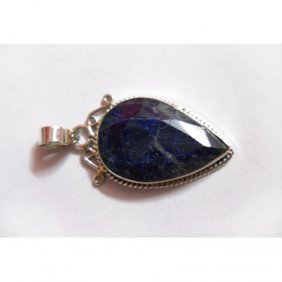 Natural 20.00 ctw Sapphire Pendant .925 Sterling