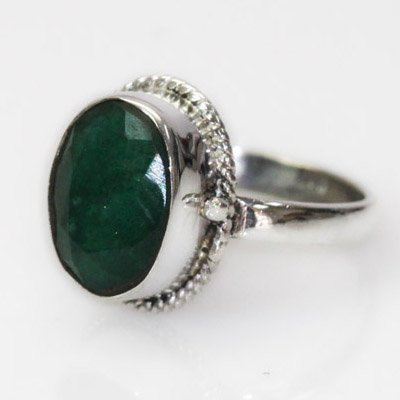 Natural 20.66 ct Emerald Oval Ring .925 Sterling Silver