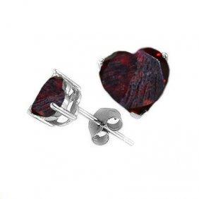 Natural 2.10 Ctw Garnet Heart Earrings .925 Sterling