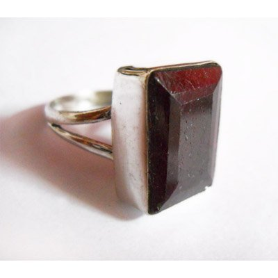 Natural 44.00 ctw Ruby Emerald Cut Ring .925 Sterling