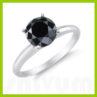 Genuine 4.0 ctw Black Diamond Solitaire Ring 14kt