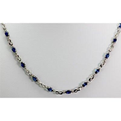 Genuine 8.42 ctw Sapphire Diamond Necklace10k W/Y Gold