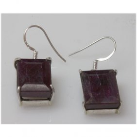 Natural 10.58 G Ruby Emerald Cut .925 Sterling Earrings
