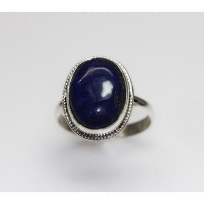 NATURAL 5.26 GRAMS LAPIS ROUND RING .925 STERLING SILVE
