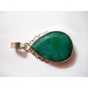 Natural 23.90 Ctw Emerald Pear Pendant .925 Sterling
