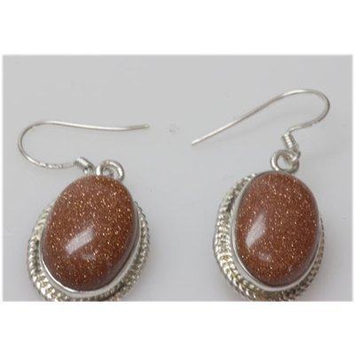 Natural 7.94 gSemi Precious Oval .925 Sterling Earrings