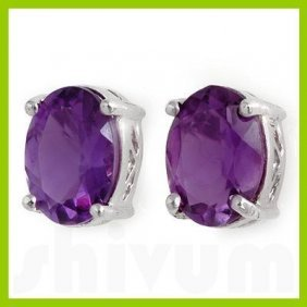 Genuine 1.52 Ctw Amethyst Stud Earrings 14kt