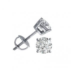 1.00 Ctw Round Cut Diamond Stud Earrings, G-H, SI-2