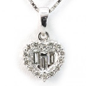 Genuine 0.18 Ctw Diamond Heart Necklace 18K White Gold