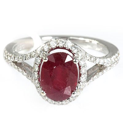 Genuine 3.50  ctw Ruby & Diamond  Ring 18kt Gold-White
