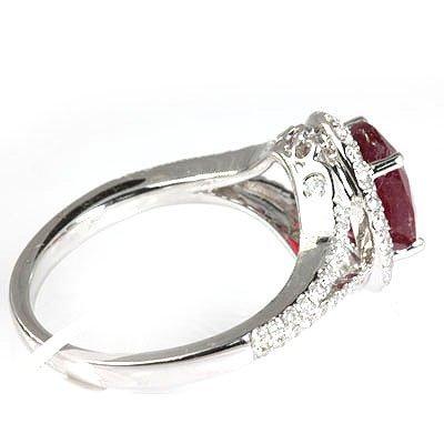Genuine 3.50  ctw Ruby & Diamond  Ring 18kt Gold-White - 2
