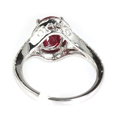 Genuine 3.50  ctw Ruby & Diamond  Ring 18kt Gold-White - 3