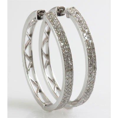 Genuine 0.52 ctw Diamond Round Cut Hoop Earring 10k