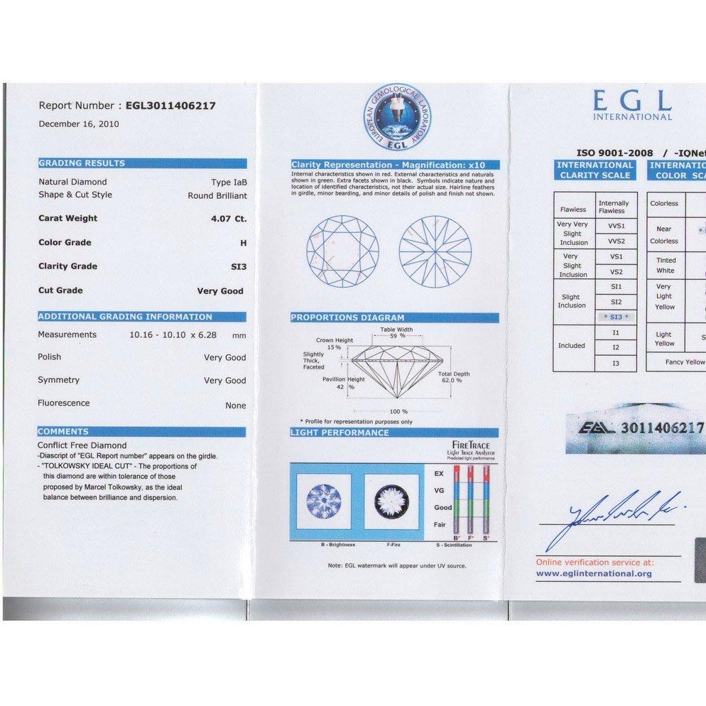 Diamond EGL Cert. ID: 3011406217 Round 4.07 ctw H, SI3 - 2