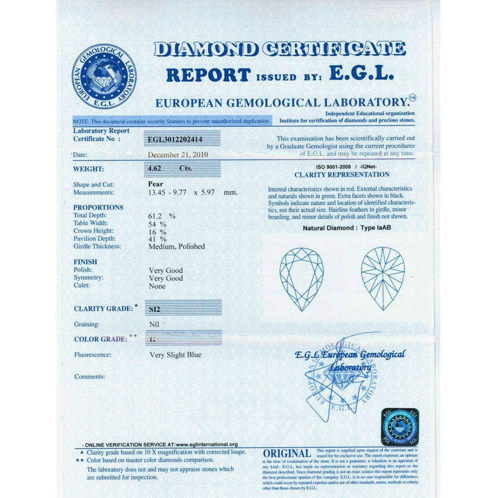 Diamond EGL Cert. ID: 3012202414 Pear 4.62 ctw G, SI2 - 2